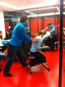 Massaging sessions in the little study rooms.