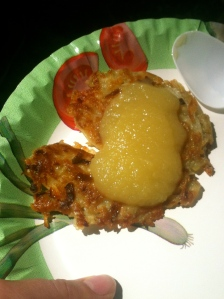 """German """"Kartoffelpuffer"""" - Hash Browns with apple sauce. These bring me back to my childhood: my grandma always used to make them. So tasty!"""