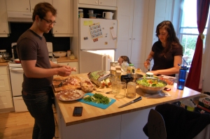 Family cooking times, in Ainsley's amazing kitchen. She has a nice apartment.